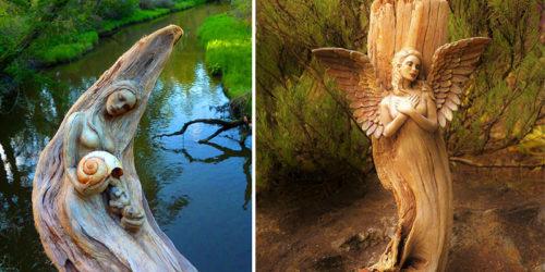 Hand-Carved Driftwood Sculptures by Debra Bernier