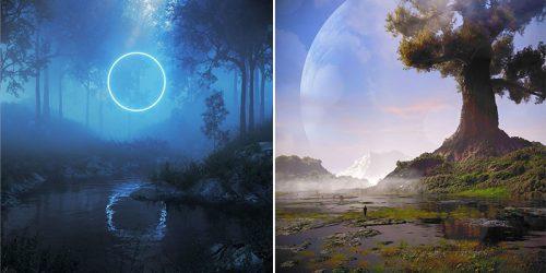 3D Environment Design and Digital Manipulation in Josh Pierce's Dreamlike Artwork