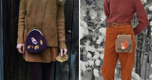 Natured-Inspired Embroidered Bags with Floral Motifs and Stitched Forest Creatures