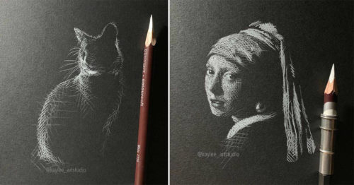 Powerful Visual Impact of Contrast in Black and White Drawings by Kay Lee