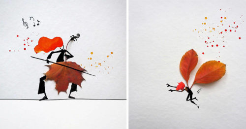 Autumn Leaves Meet Watercolor Illustrations in a Beautiful Display of Art by Allen Shaw